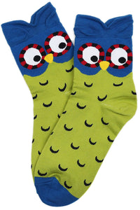 Pointy Eared Owl Cotton Socks Green