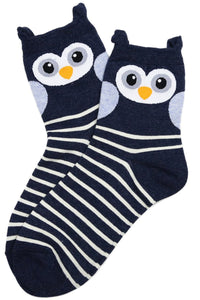 Odette Owl Cotton Socks Navy