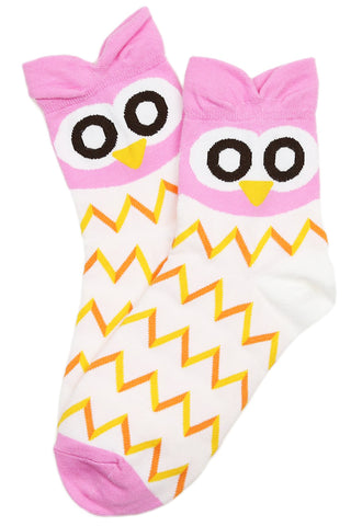 Pointy Eared Owl Cotton Socks Pink