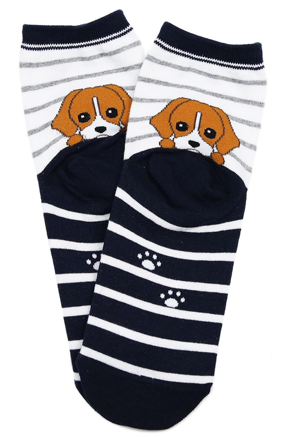 Peek a Boo Puppy Cotton Socks Navy