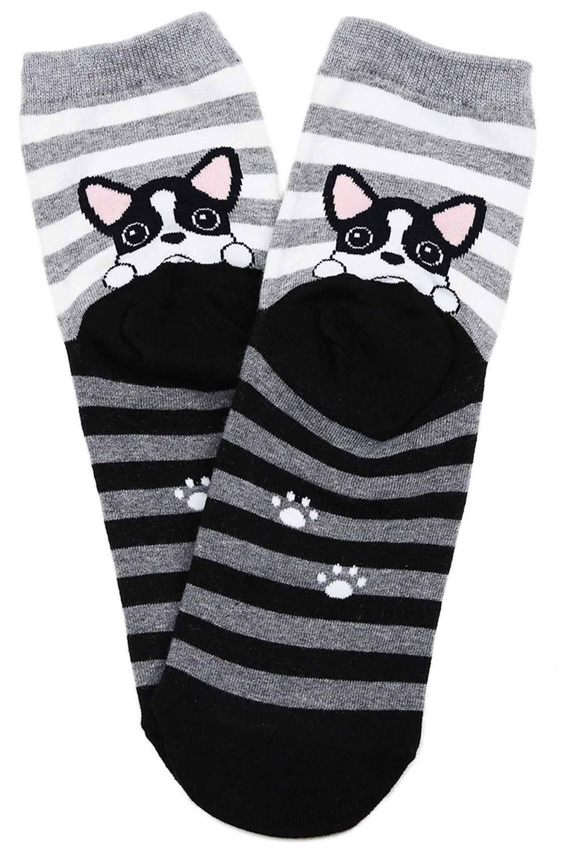 Peek a Boo Puppy Cotton Socks Black