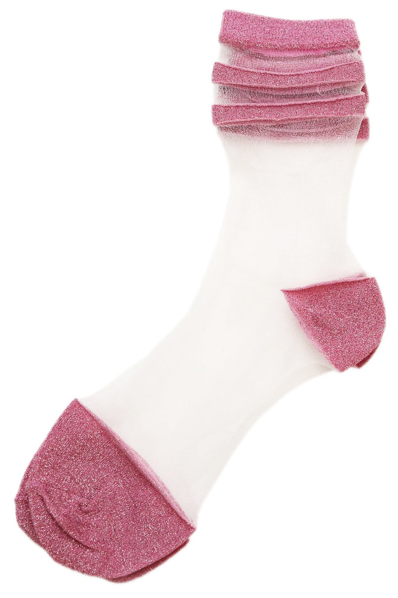 Sheer Glitter Socks Pink