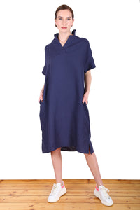 Queenscliff Ferry Cotton Dress Navy