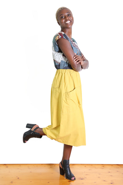 Rio Linen Skirt Mustard Yellow