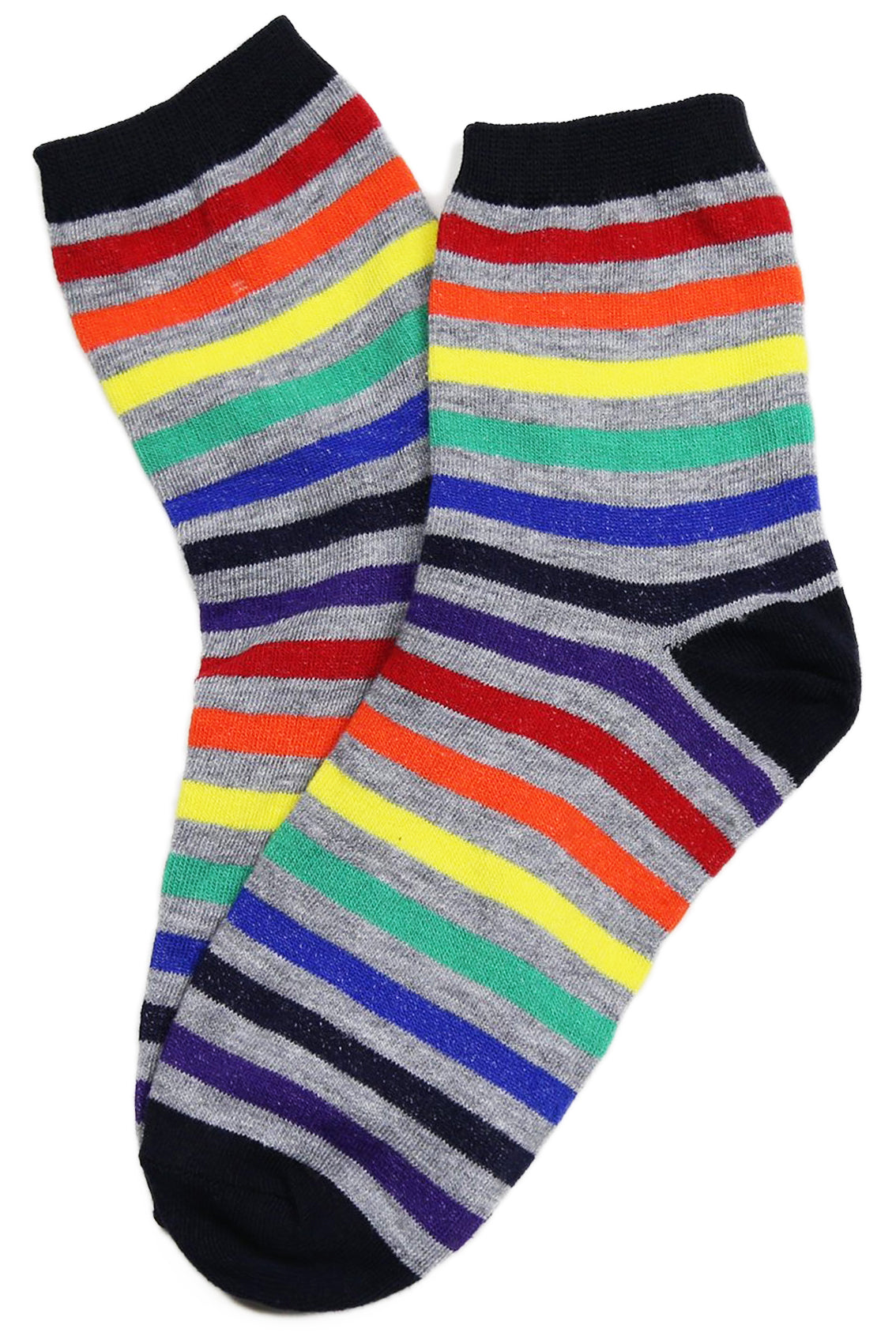 Rainbow Thin Stripe Cotton Socks Grey
