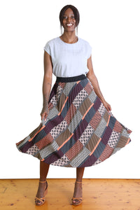 Red Carpet Pleat Skirt Khaki