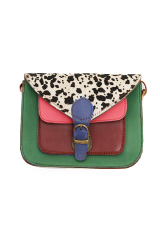 Saskia Satchel Bag Green and Pink