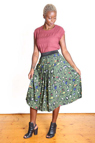 Savannah Pleat Skirt Khaki
