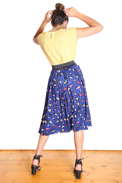 Savannah Pleat Skirt  Navy
