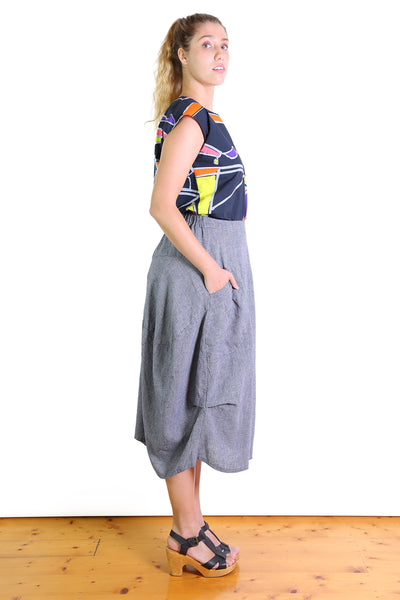South East Milwaukee Cotton/Linen Skirt - Navy