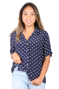 Sheena Spot Blouse Navy