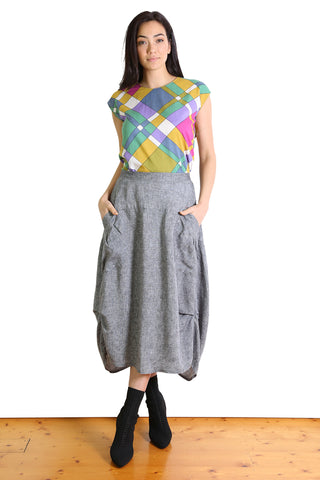 South Milwaukee Linen Skirt - Black Chambray