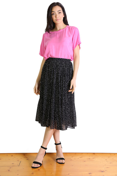 SPOTTY DOTTY Pleated Skirt - Black