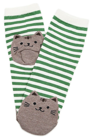 Sean Stripe Cat Cotton Socks Green