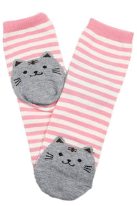 Sammy Stripe Cat Cotton Socks Pink
