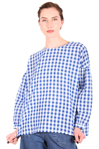 Suzi Gingham Blouse Blue