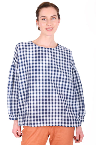 Suzi Gingham Blouse Navy