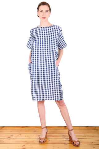 Suzi Gingham Dress Navy