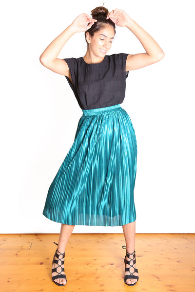 Toronto Pleat Skirt Emerald Green