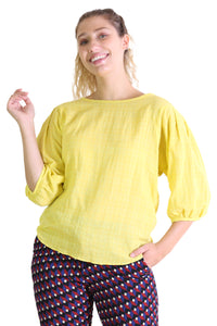 Thelma Seer Blouse Yellow