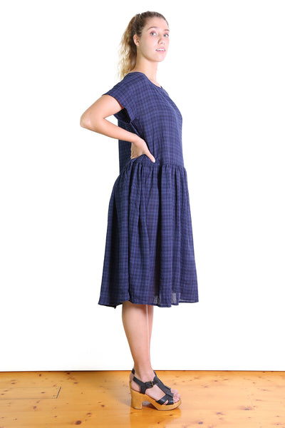 Thelma Seer Dropwaist Dress Navy