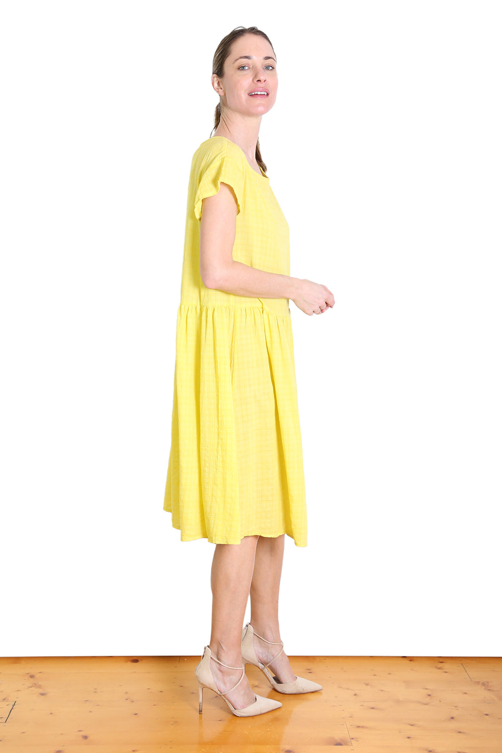 Thelma Seer Drop Waist Dress Yellow