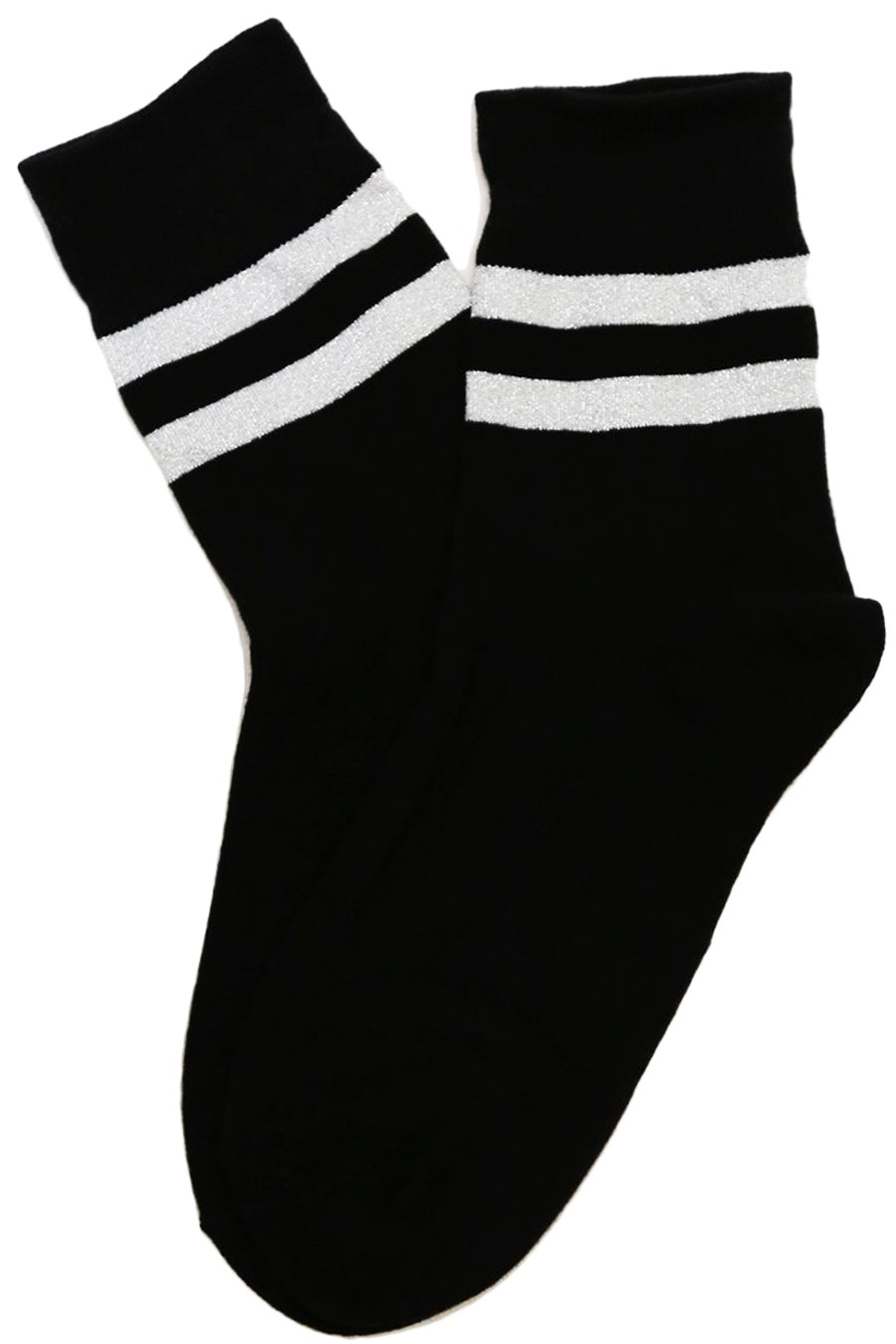 Varsity Glitter Stripe Cotton Socks Black