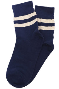 Varsity Glitter Stripe Cotton Socks Navy