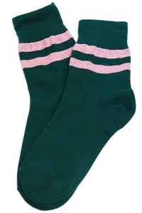 Varsity Glitter Stripe Cotton Socks Green