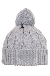 Woolly Beanie Cable Knit Grey