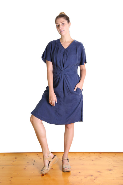 Agatha Tie Dress Royal Navy