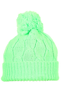 Woolly Beanie Cable Knit Bright Green