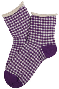 Gilda Gingham Cotton Socks Purple