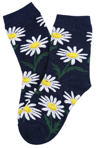 Fantastic Flower Cotton Socks Navy