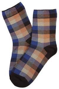 Tammy Tartan Cotton Socks Brown