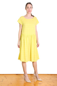 Thelma Seer Dropwaist Dress Yellow
