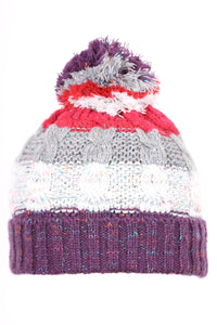 Woolly Cable Knit Beanie Four Stripe Purple