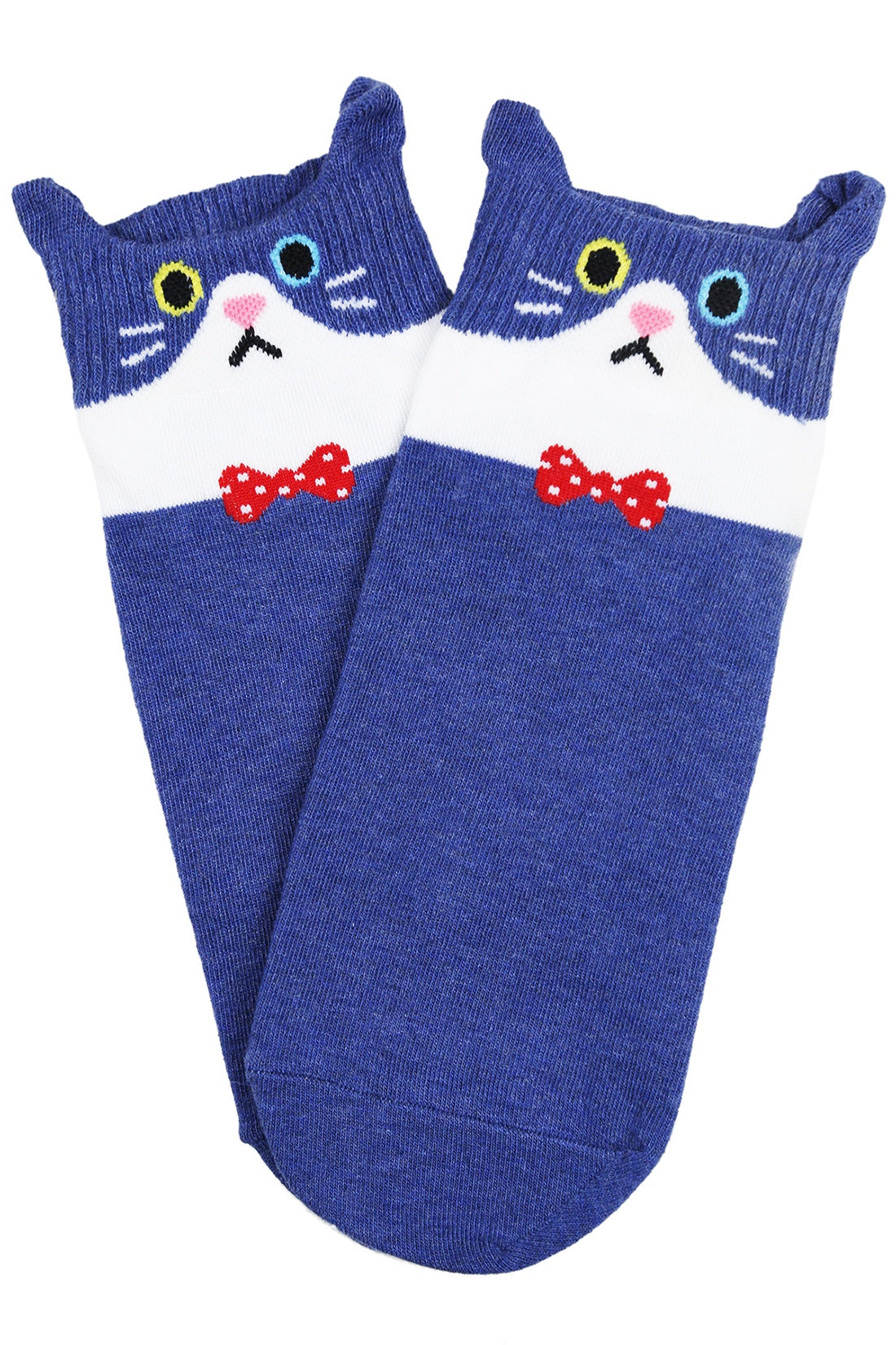 Cait the Cat Cotton Ankle Socks Navy