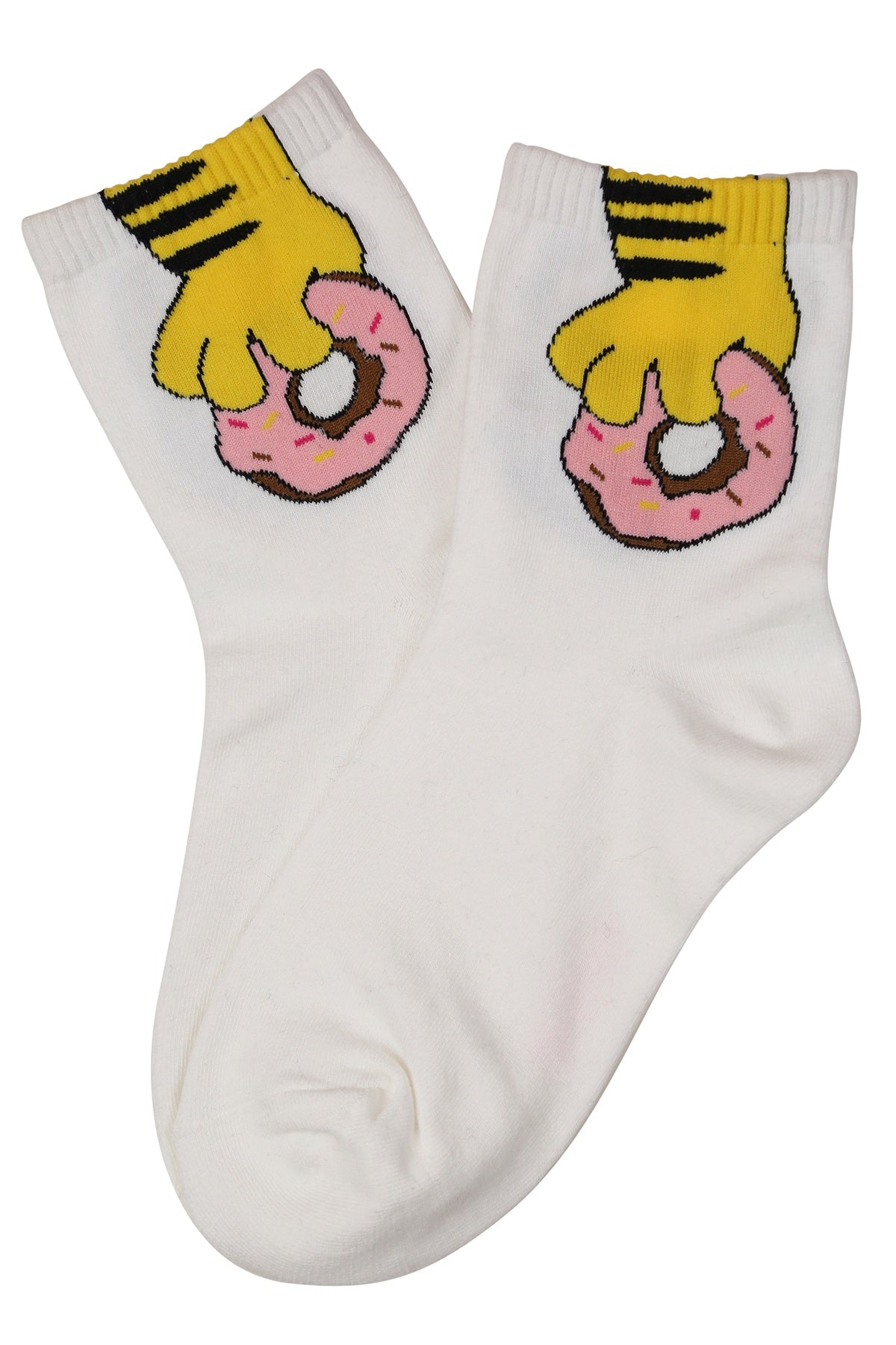 Donut Hand Cotton Socks White