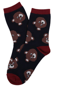 Barb Bear Cotton Socks Navy