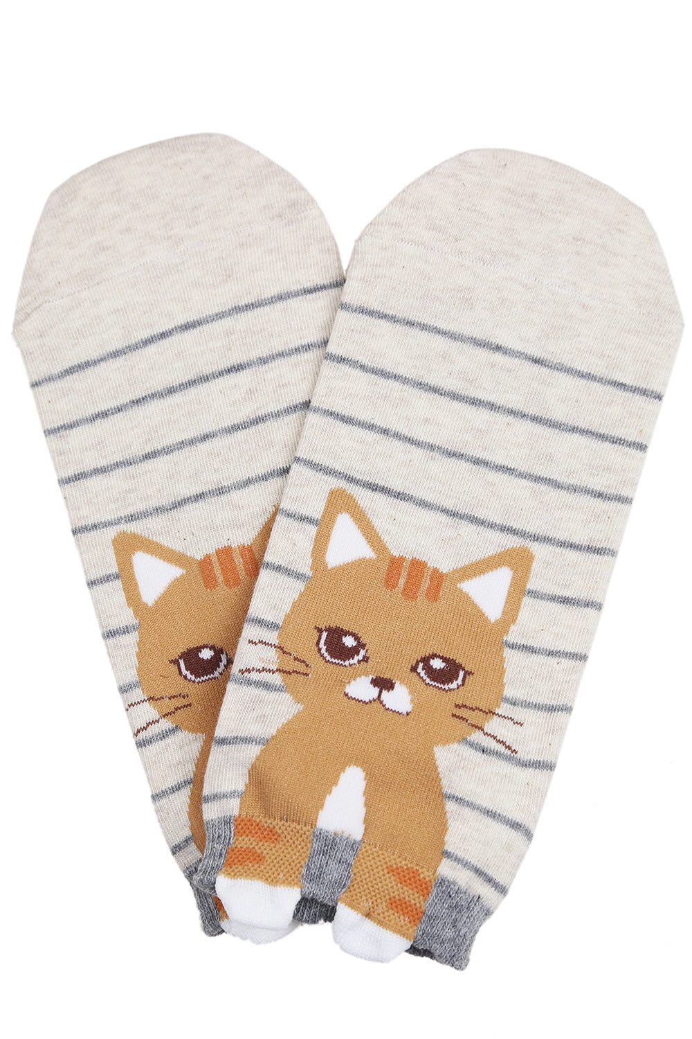 Cecelia the Cat Cotton Ankle Socks Brown