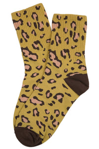 Charlotte Cheetah Cotton Socks Mustard