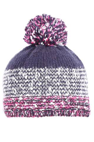 Woolly Beanie Blue and Pink Knit