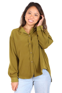 Revolution Button Blouse Khaki