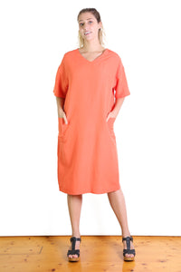 Lucille Linen Shift Dress Orange