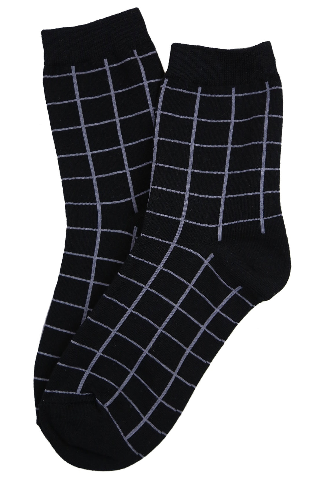 Grid Cotton Socks Black