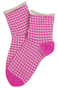 Gilda Gingham Cotton Socks Pink