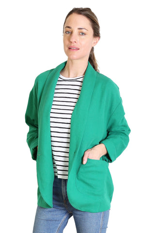 Breakfast Club Linen Jacket Emerald Green