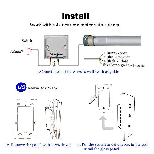 US Wifi Smart Curtain Motor Switch APP or Voice Control by Alexa Echo AC110  to 240V Work with 4 wire Electric Roller Blinds Curtains Motor [N wire