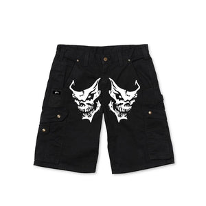 BLACK CARGO RIPSTOP SHORTS - Get Free Co